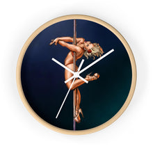Load image into Gallery viewer, Pinup burlesque pole dancer artwork wall clock
