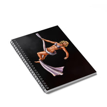Load image into Gallery viewer, Pinup burlesque aerialist aerial silks artwork Spiral Notebook - Ruled Line