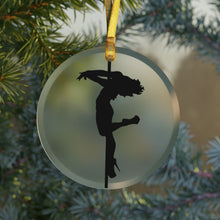 Load image into Gallery viewer, Pole Dancer Silhouette Glass Ornament