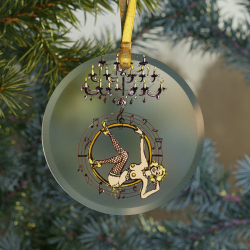 Singing aerial hoop girl Glass Ornament