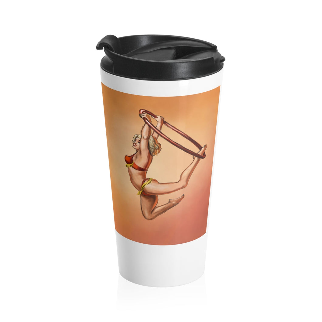Pinup burlesque aerialist acrobat in Lyra Stainless Steel Travel Mug