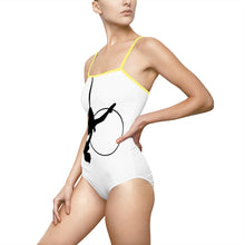 Load image into Gallery viewer, Aerialist aerial hoop acrobat in lyra spaghetti strap Swimsuit leotard
