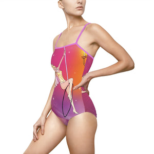 Whimsical singing aerialist hoop art spaghetti strap Swimsuit/leotard