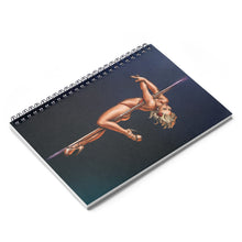 Load image into Gallery viewer, Pinup burlesque pole dancer artwork Spiral Notebook - Ruled Line