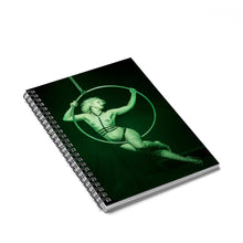 Load image into Gallery viewer, Burlesque aerialist aerial hoop acrobat in lyra photo Spiral Notebook - Ruled Line