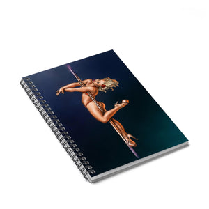 Pinup burlesque pole dancer artwork Spiral Notebook - Ruled Line