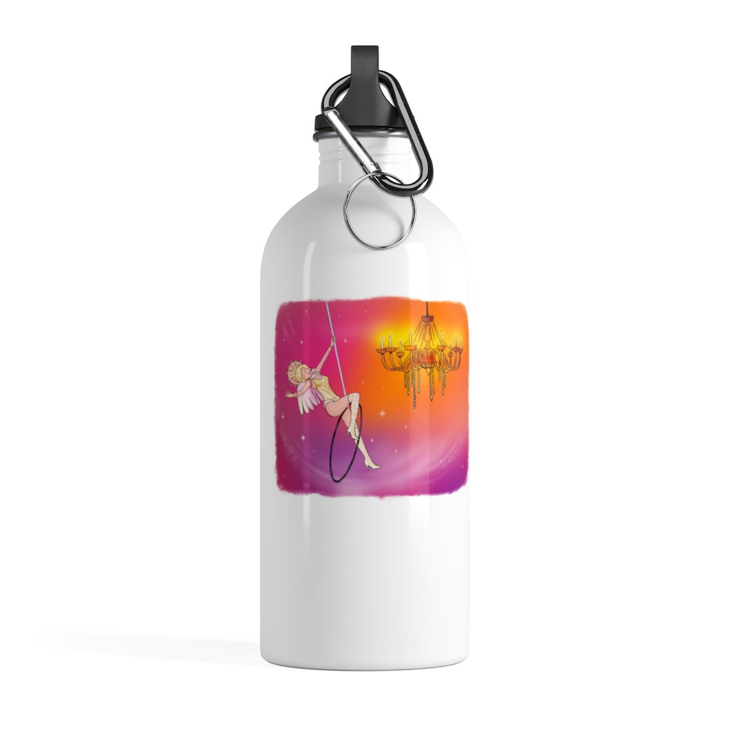 Whimsical singing aerialist hoop art Stainless Steel Water Bottle