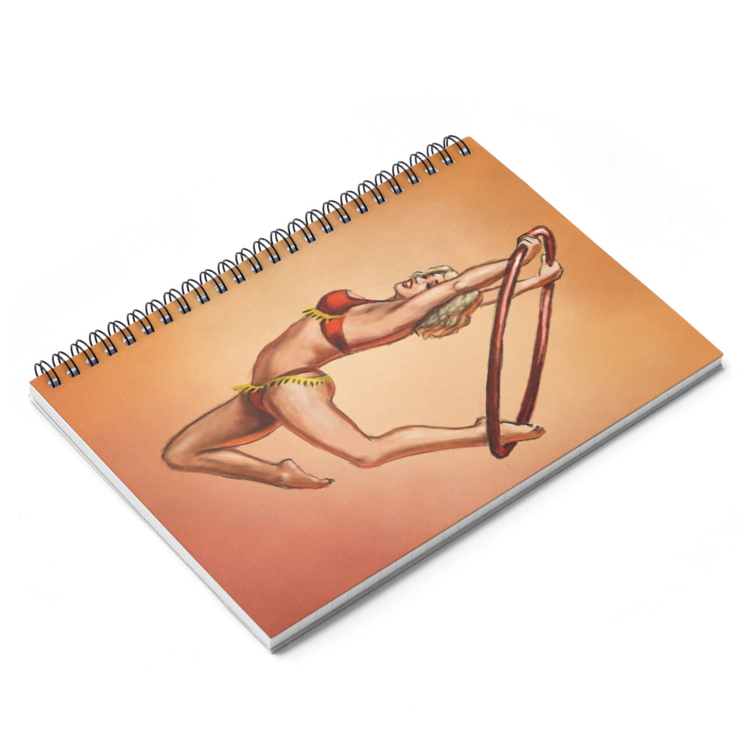 Pinup burlesque aerialist acrobat in Lyra Spiral Notebook - Ruled Line (aerial hoop)