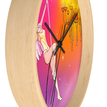 Load image into Gallery viewer, Whimsical singing aerialist hoop art Wall clock