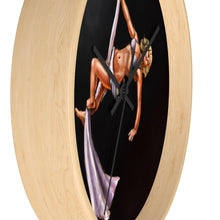 Load image into Gallery viewer, Pinup burlesque aerialist aerial silks acrobat Wall clock