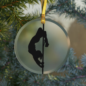 Pole Dancer Silhouette Glass Ornament