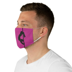 Pole dancer silhouette Fabric Face Mask-Hot Pink