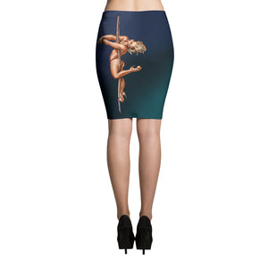 Pinup burlesque pole dancer full-print bodycon Pencil Skirt