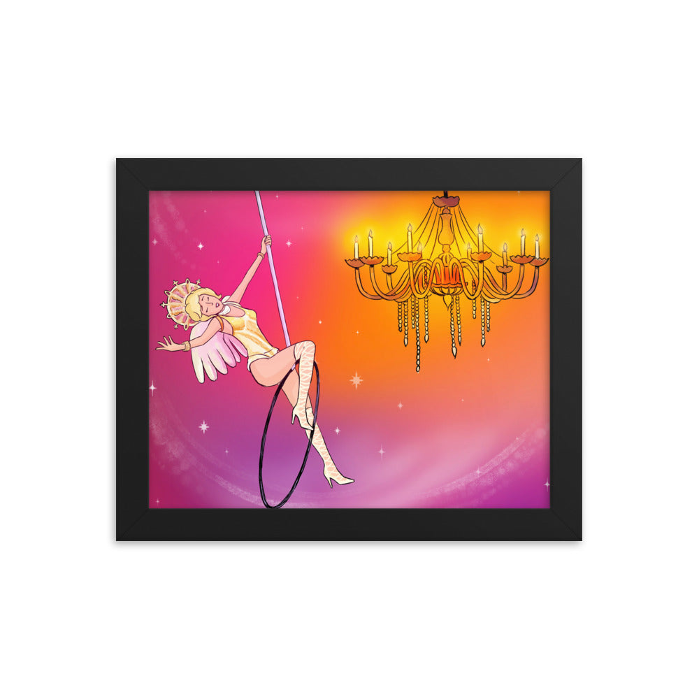 Whimsical singing aerialist Framed print