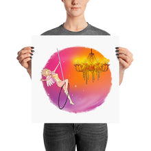 Load image into Gallery viewer, Whimsical singing aerialist hoop art print (circular)