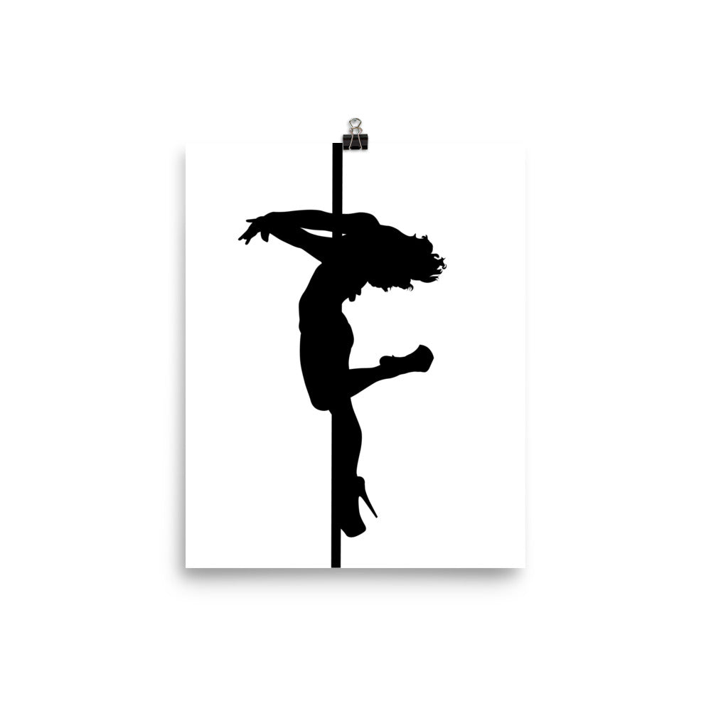 Pole dancer back spin silhouette print