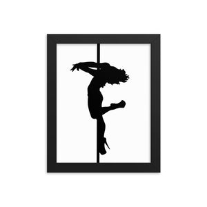 Pole dancer back spin silhouette Framed print