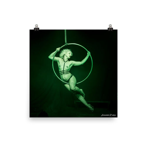 Burlesque aerialist aerial hoop acrobat in lyra photo Print