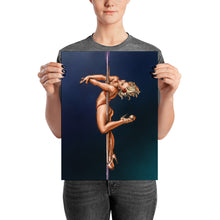 Load image into Gallery viewer, Pinup burlesque pole dancer art print
