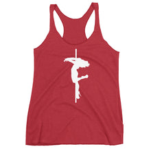 Load image into Gallery viewer, Pole dancer backspin Women's Racerback Tank (white silhouette)