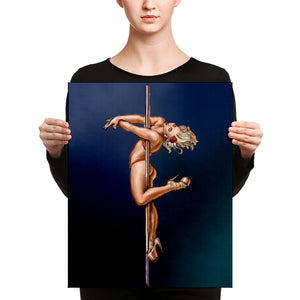 Pinup burlesque pole dancer Canvas