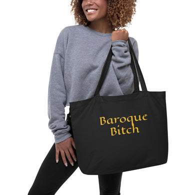 Baroque Bitch Large organic tote bag-black