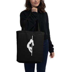 Pole dancer silhouette Eco Tote Bag-black