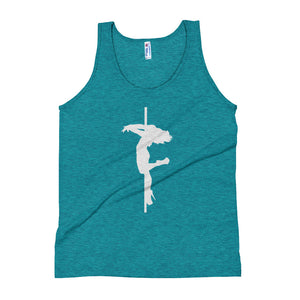 Pole dancer back spin Unisex Tank Top (white silhouette)