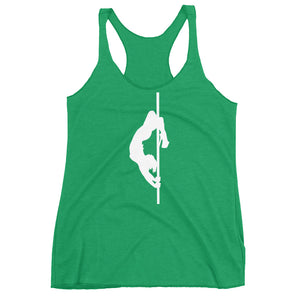Pole dancer Women's Racerback Tank (white silhouette)