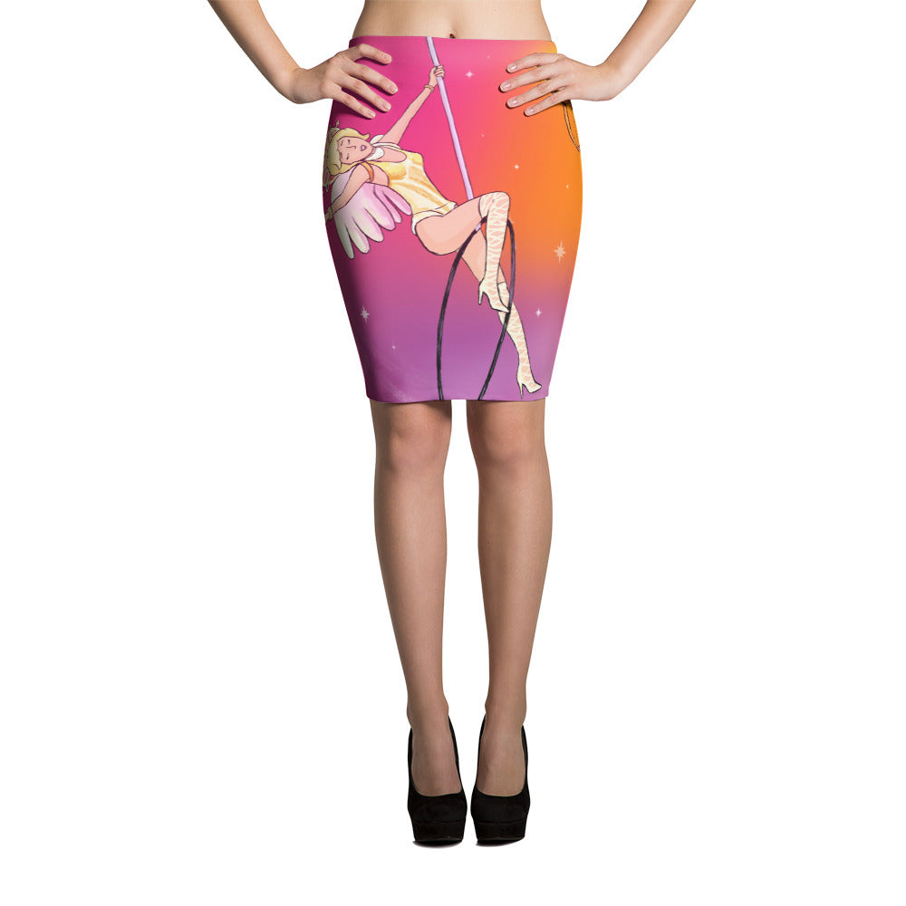 Whimsical singing aerialist cartoon bodycon Pencil Skirt