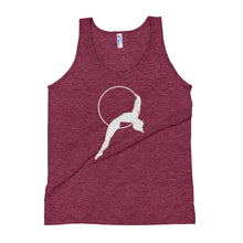 Load image into Gallery viewer, Aerialist aerial hoop acrobat laying back in Lyra Unisex Tank Top (white silhouette)