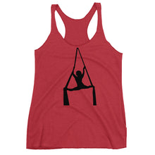 Load image into Gallery viewer, Aerialist aerial silks acrobat in splits Women's Racerback Tank (black silhouette)