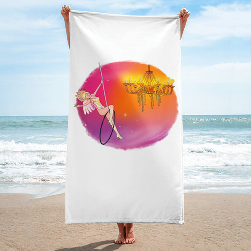 Whimsical Singing Aerialist Hoop Art Beach Towel