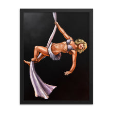 Load image into Gallery viewer, Pinup burlesque aerialist, aerial silks acrobat framed print