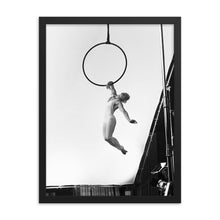 Load image into Gallery viewer, Black and white artistic aerial hoop Framed print