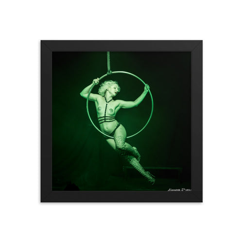 Burlesque aerialist aerial hoop acrobat in lyra photo framed print
