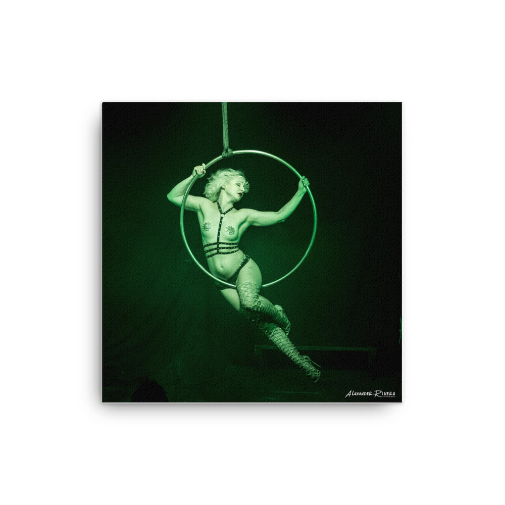 Burlesque aerialist aerial hoop acrobat in lyra photo Canvas