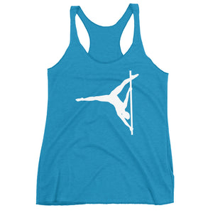 Pole dancer in butterfly Women's Racerback Tank (white silhouette)
