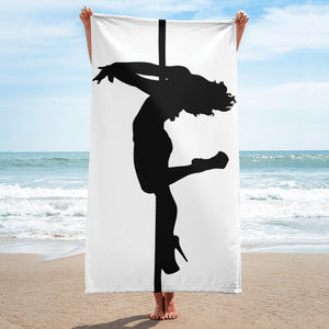 Pole dancer back spin silhouette Beach Towel
