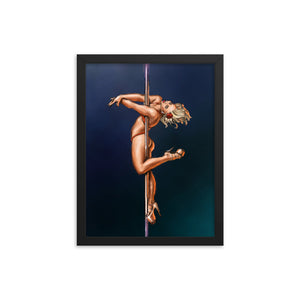 Pinup burlesque pole dancer art framed print
