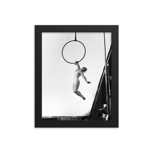 Black and white artistic aerial hoop Framed print