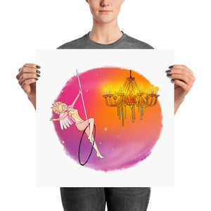 Whimsical singing aerialist hoop art print (circular)
