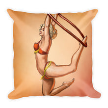 Load image into Gallery viewer, Pinup burlesque aerialist acrobat in Lyra Decorative Square Pillow (aerial hoop)