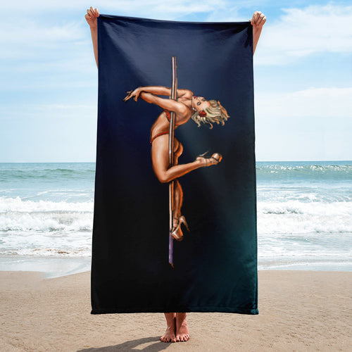 Pinup burlesque pole dancer artwork beach towel