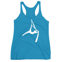 Load image into Gallery viewer, Aerialist aerial silks acrobat Women's Racerback Tank (white silhouette)