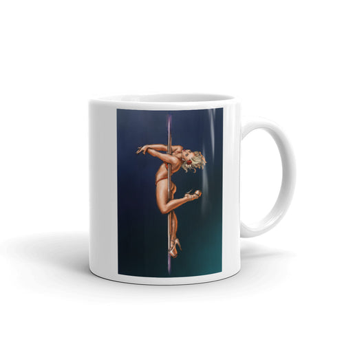 Pinup burlesque pole dancer artwork Mug