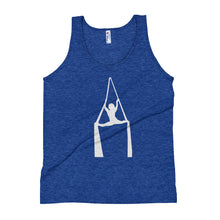 Load image into Gallery viewer, Aerialist aerial silks acrobat in splits Unisex Tank Top (white silhouette)