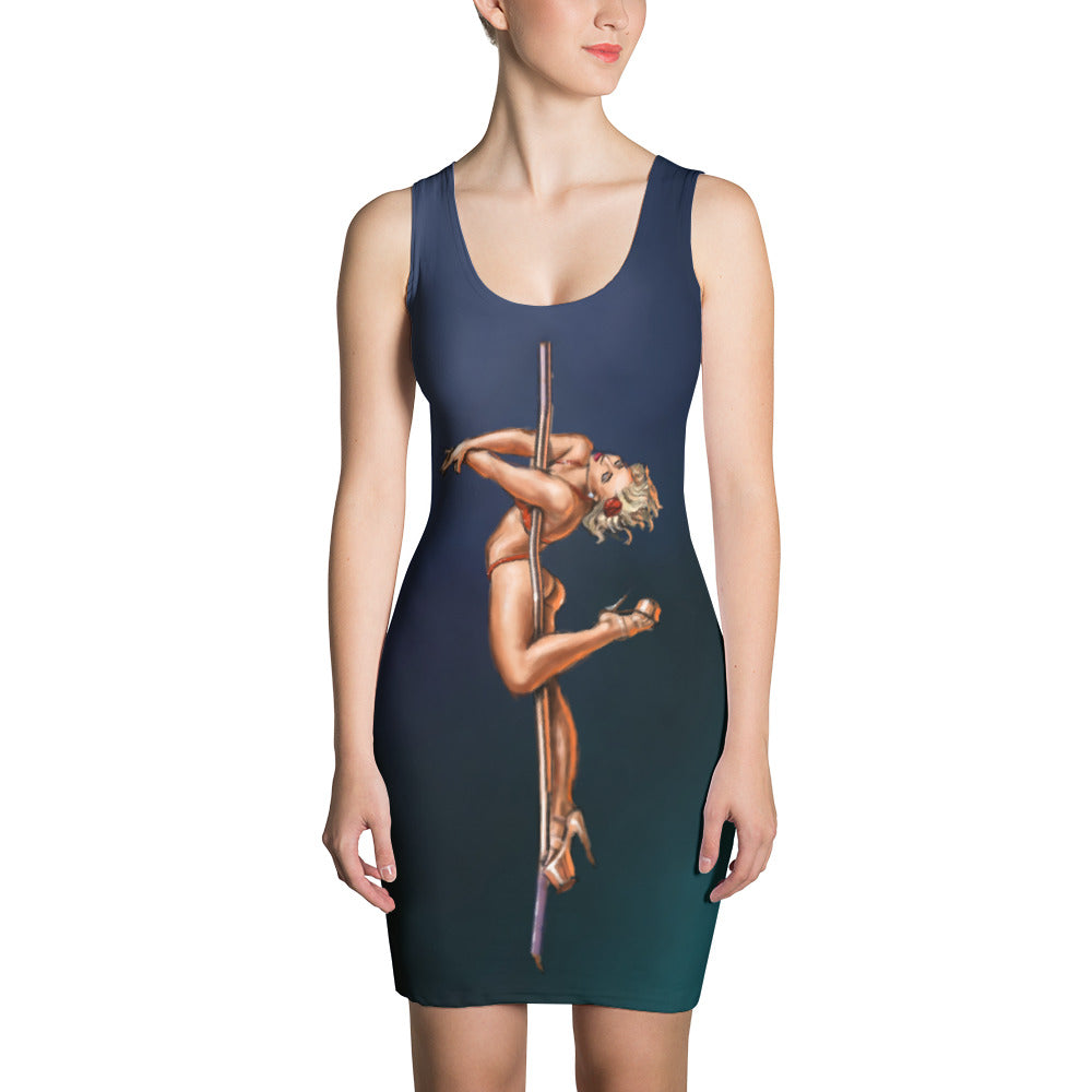 Pinup burlesque pole dancer all-over print bodycon dress