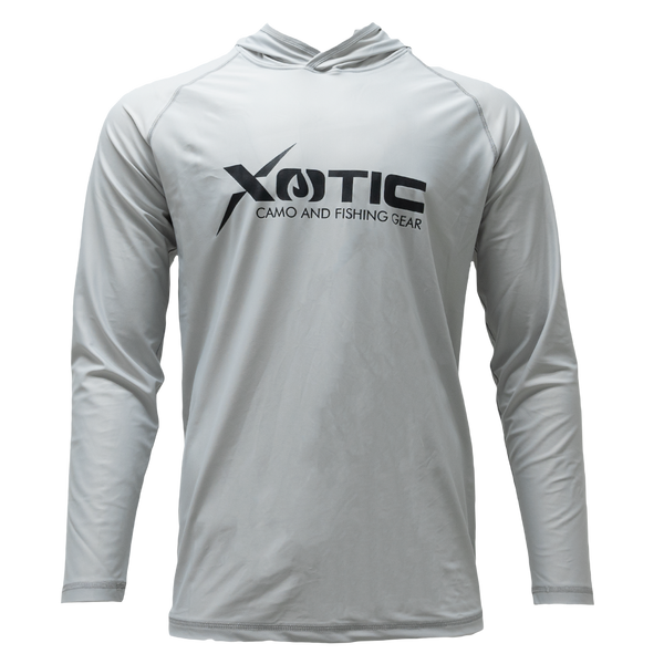 Gray Long Sleeve Hooded Performance Shirt with Repel X
