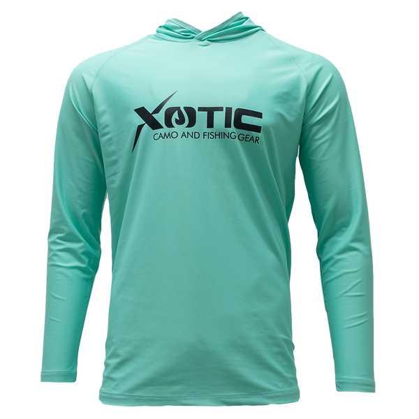 Ice Green Long Sleeve Hooded Performance Shirt with Repel X